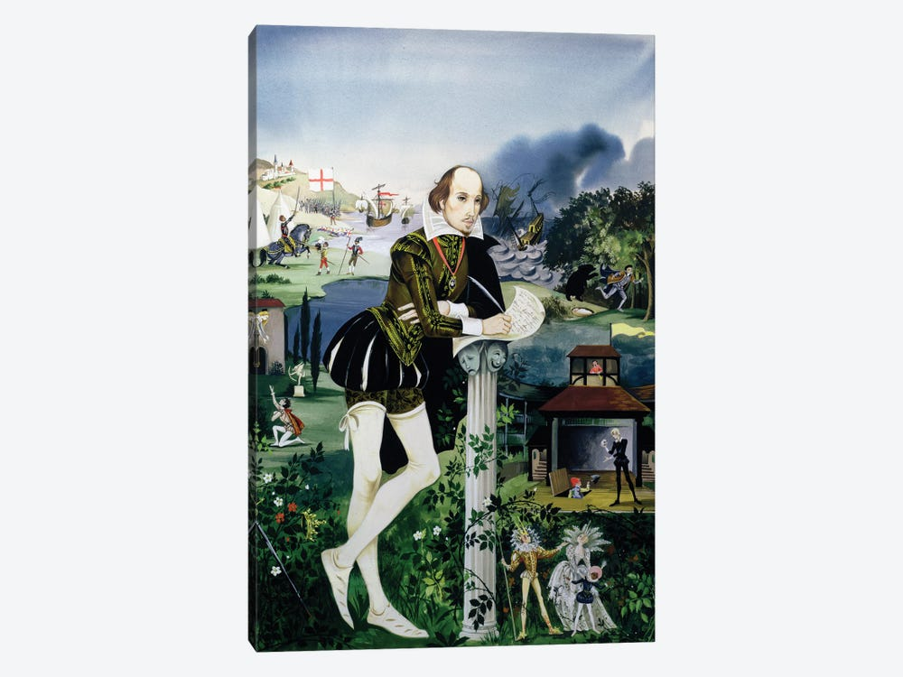 """Cover Illustration From """"Finding Out, Shakespeare's World"""" by Anne & Janet Johnstone 1-piece Canvas Art"""