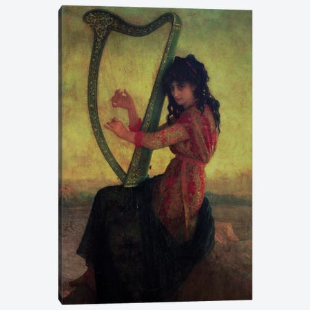 Muse Playing The Harp Canvas Print #BMN11204} by Antoine Auguste Ernest Hébert Canvas Art Print