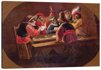 Monkeys Dressed As Soldiers Playing Cards And Carousing Canvas Art Print