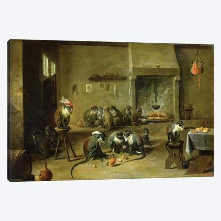 Monkeys In A Kitchen, c.1645 Canvas Print #BMN11213} by David Teniers the Younger Canvas Print