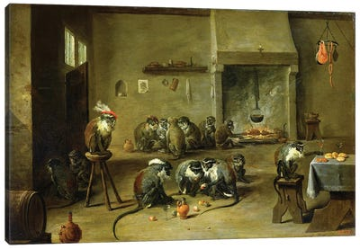 Monkeys In A Kitchen, c.1645 Canvas Art Print