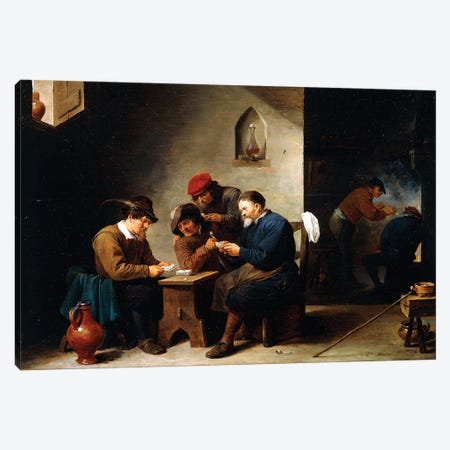 Peasants At Cards In A Cottage, c.1644-45 Canvas Print #BMN11214} by David Teniers the Younger Canvas Wall Art