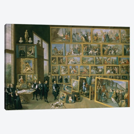 The Archduke Leopold Wilhelm In His Picture Gallery In Brussels, 1651 Canvas Print #BMN11215} by David Teniers the Younger Canvas Wall Art