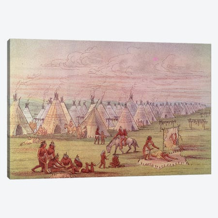 Comanchee Village  Canvas Print #BMN1121} by George Catlin Canvas Print