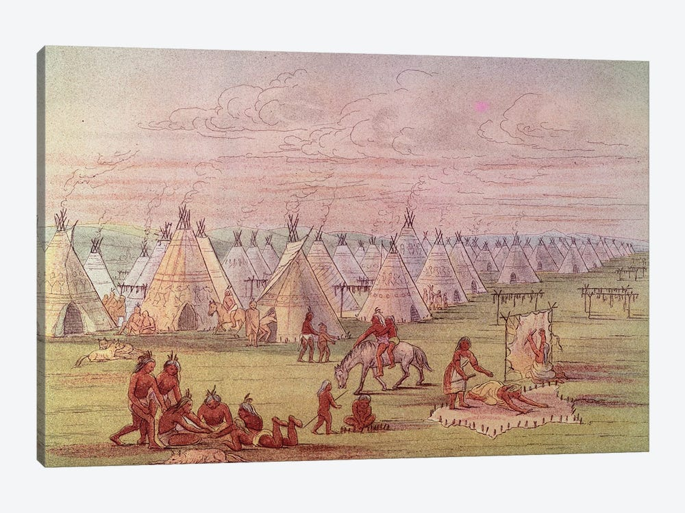 Comanchee Village  by George Catlin 1-piece Canvas Art Print