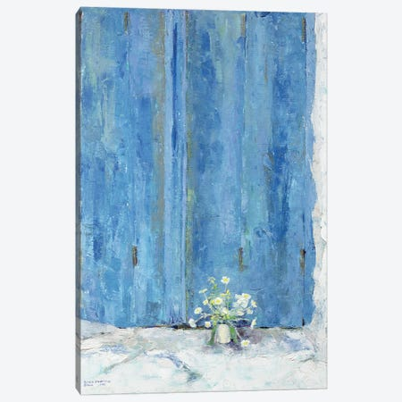 Blue Shutter, 1990 Canvas Print #BMN11223} by Diana Schofield Canvas Wall Art
