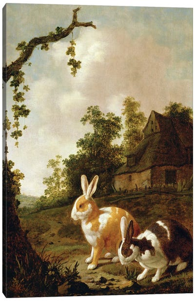 Wooded Landscape With Two Hares Canvas Art Print
