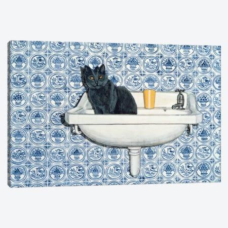 My Bathroom Cat Canvas Print #BMN11226} by Ditz Canvas Print