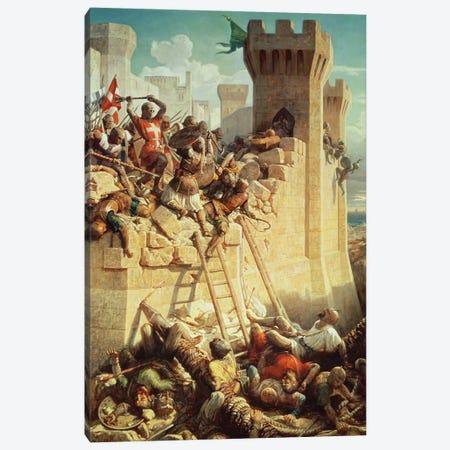 Guillaume de Clermont Defending Ptolemais (Acre), 1845 Canvas Print #BMN11227} by Dominique Louis Papety Art Print