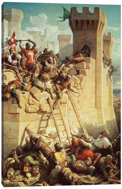 Guillaume de Clermont Defending Ptolemais (Acre), 1845 Canvas Art Print