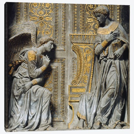 Detail Of The Virgin & Angel, Cavalcanti Anunciation, c.1435 Canvas Print #BMN11228} by Donatello Canvas Artwork