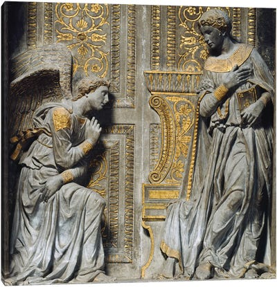 Detail Of The Virgin & Angel, Cavalcanti Anunciation, c.1435 Canvas Art Print
