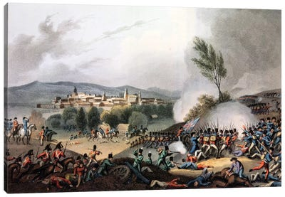 Battle of Vittoria, 21st June, 1813, etched by I. Clark, aquatinted by M. DuBourg  Canvas Art Print