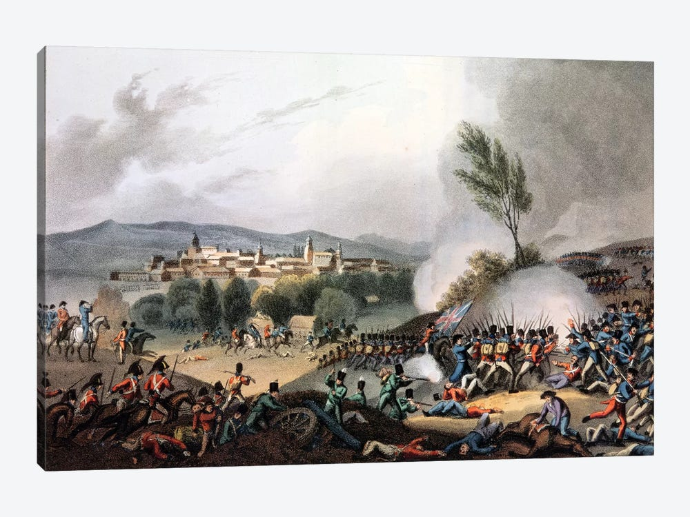 Battle of Vittoria, 21st June, 1813, etched by I. Clark, aquatinted by M. DuBourg  by William Heath 1-piece Canvas Artwork