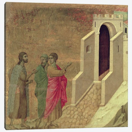 Christ Appearing On The Road To Emmaus, Reverse Side Of Maestà Altarpiece, 1308-11 Canvas Print #BMN11232} by Duccio di Buoninsegna Art Print