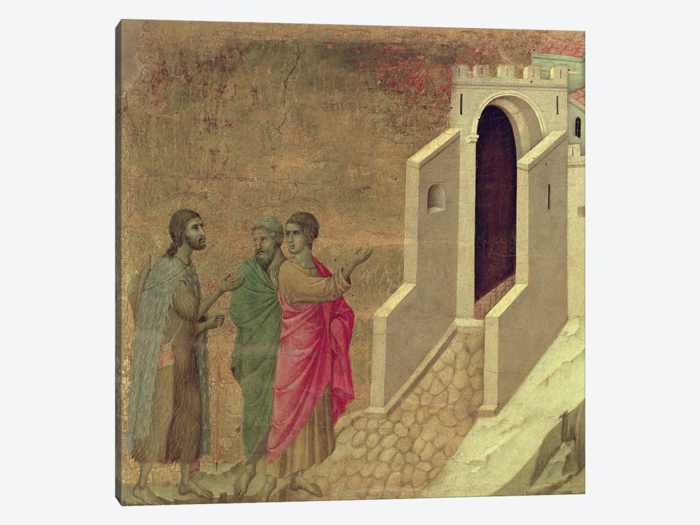 Christ Appearing On The Road To Emmaus, Reverse Side Of Maestà Altarpiece, 1308-11 by Duccio di Buoninsegna 1-piece Canvas Art
