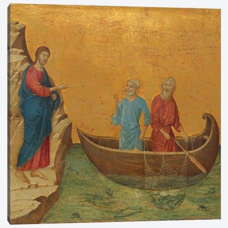 The Calling Of The Apostles Peter And Andrew, Reverse Side Of Maestà Altarpiece, 1308-11 Canvas Print #BMN11233} by Duccio di Buoninsegna Canvas Print