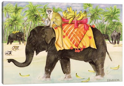 Elephants With Bananas, 1998 Canvas Art Print