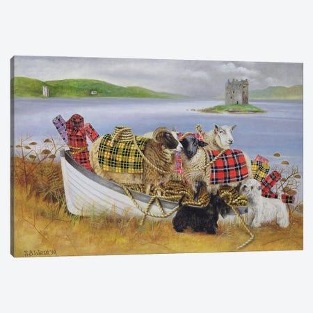 Sheep With Tartan, 1999 Canvas Print #BMN11240} by E.B. Watts Canvas Wall Art