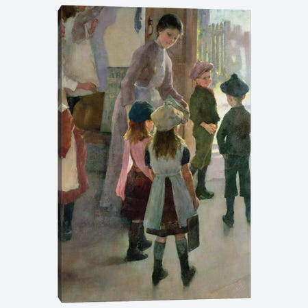 Detail Of Group At Schoolroom Entryway, School Is Out, 1889 Canvas Print #BMN11244} by Elizabeth Adela Stanhope Forbes Art Print