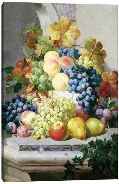 Still Life With Grapes And Pears Canvas Art Print