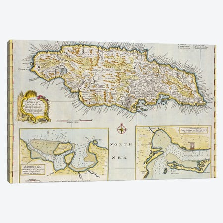A New & Accurate Map Of The Island Of Jamaica. Divided Into Its Principal Parishes, c.1760 Canvas Print #BMN11251} by Emanuel Bowen Canvas Art Print