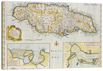 A New & Accurate Map Of The Island Of Jamaica. Divided Into Its Principal Parishes, c.1760 Canvas Art Print