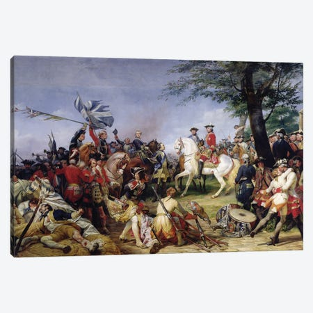The Battle Of Fontenoy (11th May 1745), 1828 Canvas Print #BMN11258} by Emile Jean Horace Vernet Canvas Print