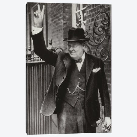 The Prime Minister Giving The Victory Sign Canvas Print #BMN11267} by English Photographer Canvas Art Print