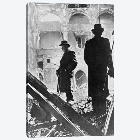 Winston Churchill Inspecting The Ruins Of The House Of Commons, May 1941 Canvas Print #BMN11269} by English Photographer Canvas Artwork