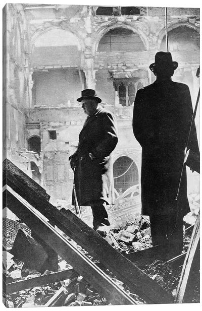 Winston Churchill Inspecting The Ruins Of The House Of Commons, May 1941 Canvas Art Print