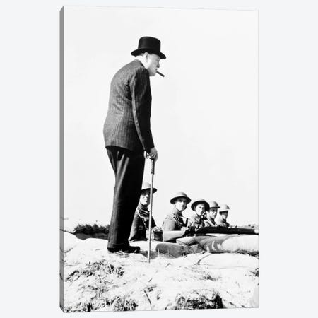 Winston Churchill Visiting Coastal Defences Near Dover In 1940 Canvas Print #BMN11270} by English Photographer Art Print