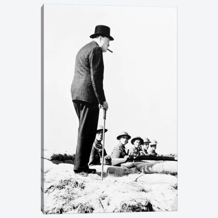 Winston Churchill Visiting Coastal Defences Near Dover In 1940 Canvas Print #BMN11270} by English Photographer Art Print