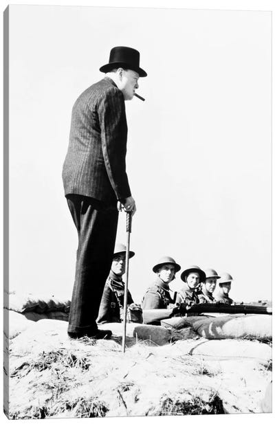 Winston Churchill Visiting Coastal Defences Near Dover In 1940 Canvas Art Print