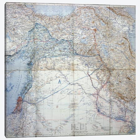 Map Of 1910 Showing The Proposed Dismemberment Of The Ottoman Empire Via The Sykes-Picot Agreement Of 1916 Canvas Print #BMN11275} by English School Canvas Art