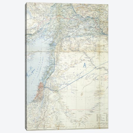 Map Showing The Proposed Dismemberment Of The Ottoman Empire Via The Sykes-Picot Agreement Of 1916 Canvas Print #BMN11276} by English School Canvas Art
