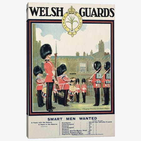 Smart Men Wanted, Welsh Guards Recruitment Poster, 1919 Canvas Print #BMN11279} by English School Canvas Print