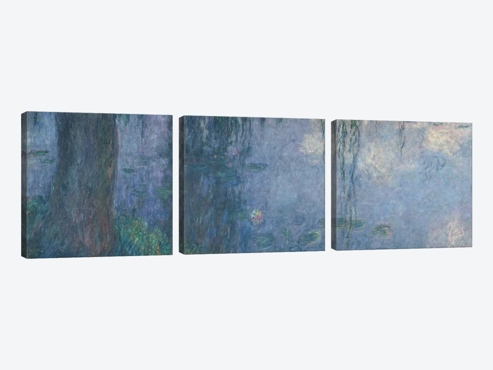 Waterlilies: Morning with Weeping Willows, detail of the left section, 1914-18   by Claude Monet 3-piece Canvas Art Print