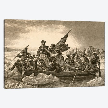 Washington Crossing The Delaware Canvas Print #BMN11283} by English School Canvas Art