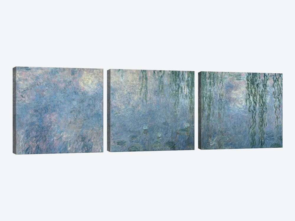 Waterlilies: Morning with Weeping Willows, detail of central section, 1914-18   by Claude Monet 3-piece Canvas Art