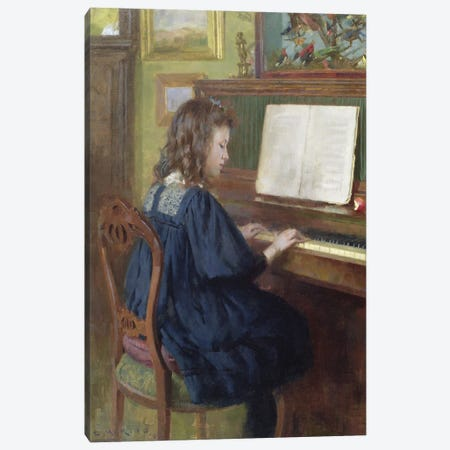 Playing The Piano Canvas Print #BMN11299} by Ernest Higgins Rigg Canvas Print