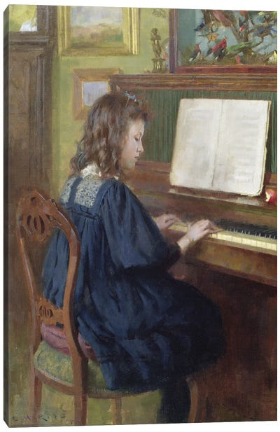 Playing The Piano Canvas Art Print