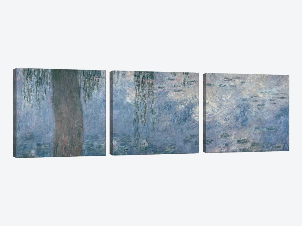 Waterlilies: Morning with Weeping Willows, 1914-18  by Claude Monet 3-piece Canvas Art Print