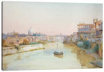 View Of The Tevere From The Ponte Sisto Canvas Art Print