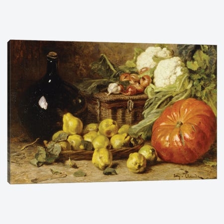 A Still Life With A Wine Flagon, A Basket, Pears, Onions, Cauliflowers, Cabbages, Garlic And A Pumpkin Canvas Print #BMN11306} by Eugene Claude Canvas Art