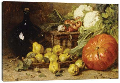 A Still Life With A Wine Flagon, A Basket, Pears, Onions, Cauliflowers, Cabbages, Garlic And A Pumpkin Canvas Art Print
