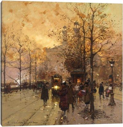 Figures On A Parisian Street Canvas Art Print