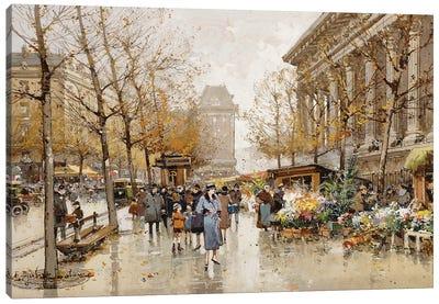 Paris Street In Autumn Canvas Art Print