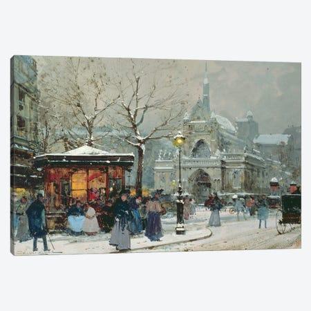 Snow Scene In Paris Canvas Print #BMN11319} by Eugene Galien-Laloue Canvas Artwork