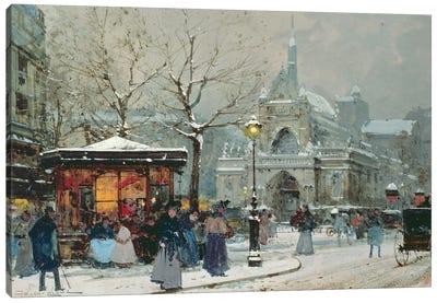 Snow Scene In Paris Canvas Art Print